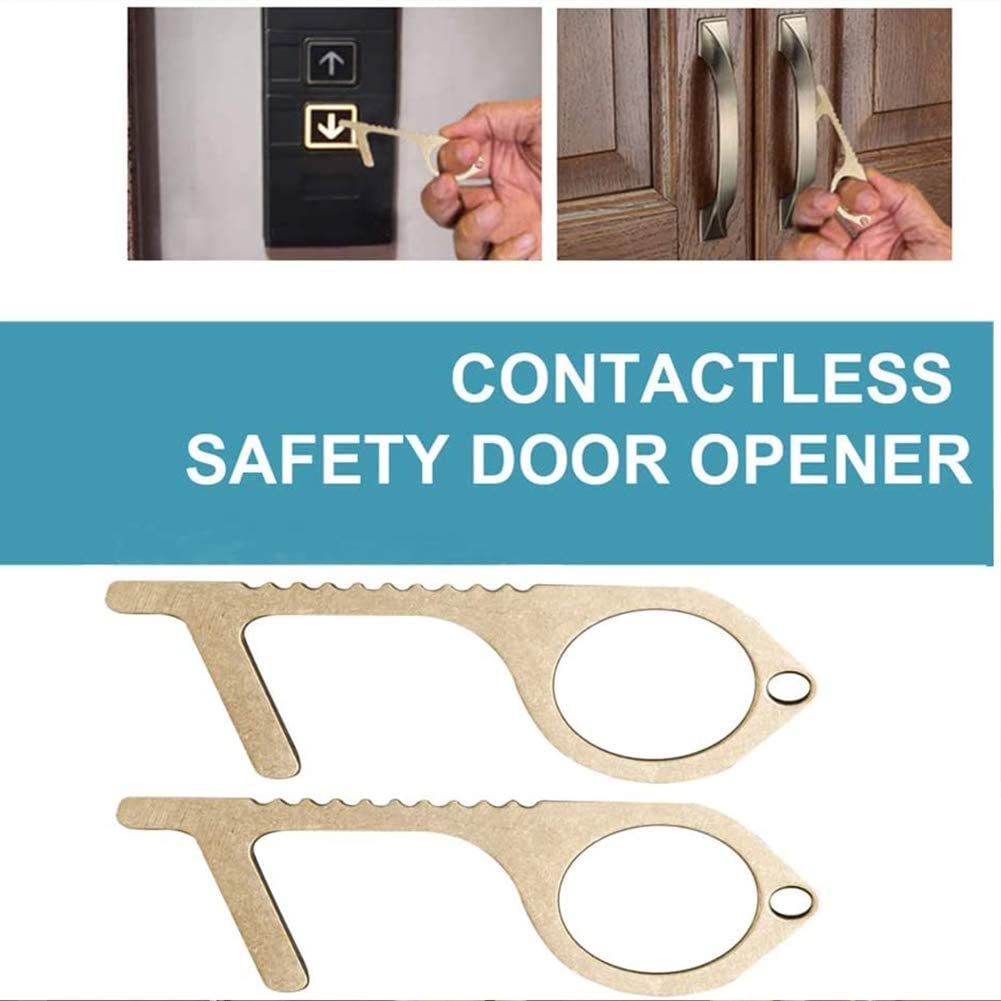 Contactless Safety Door Opener Zero Touch Reusable Isolation Brass Key Door Opener Elevator Button Non Contact Press Tool Door The Safe Way to use Public Touch Screens Doors and Buttons 4pack