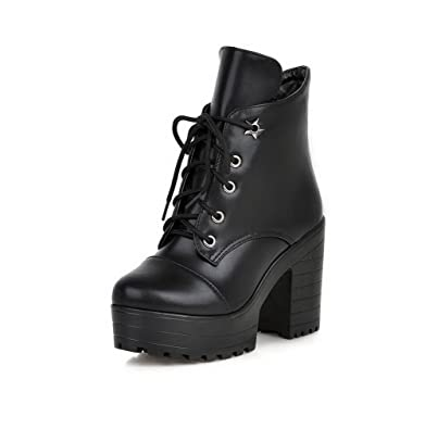 Women's Low-Top Solid Lace Up Round Closed Toe High Heels Boots