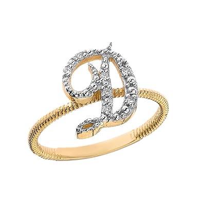 amazon com women s 10k yellow gold diamond script initial letter d
