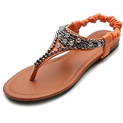 1896eae898e5 Ollio Women s Crystal Bead Thong Elasticized Ankle Strap Flip Flop Sandal(5.5  B(M