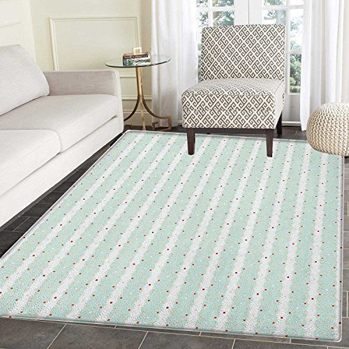 Teal and White Anti-Skid Area Rug Vintage Shabby Chic Composition with Little Dots and Ornaments Door Mat Increase 3'x4' Baby Blue Orange White -