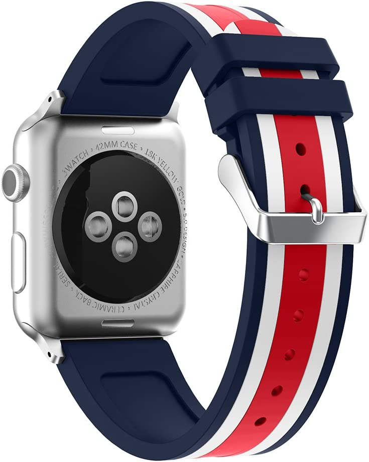 SEMILU Compatible with Apple Watch Band, Soft Silicone Strap Replacement Bracelet Band with Stainless Metal Clasp Compatible with iWatch SE Series 6/5/4/3/2/1 (42/44mm-Dark Blue/White/Red)