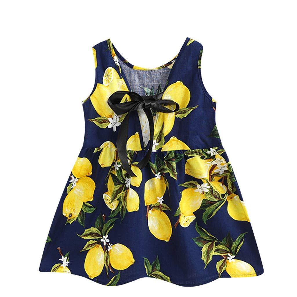 Toddler Summer Dress,Toddler Baby Kids Girls Sleeveless Sunflowers Skirt Princess Dresses Clothes,Girls' Clothing Sets,White,3-4T