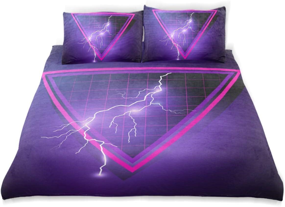 COVOSA Duvet Cover Set Retro S Element Triangles Lightning Bolts Decorative 3 Piece Bedding Set with 2 Pillow Shams Soft Bedding Set with Zipper Closure