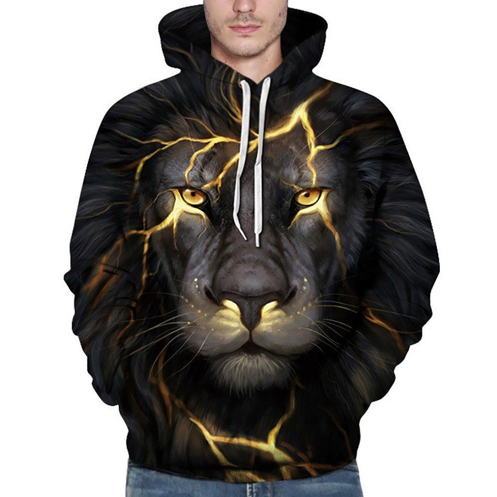 TMOTYE Unisex 3D Langarm Drawstring Wolf Pullover Langarm Kapuzen Sweatshirt Tops Bluse Hoodie Langarm Sweatshirt Kapuzenjacke