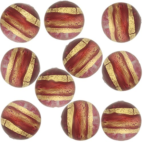 Pink and Gold Band Round 8mm, 10 Pieces Murano Glass Bead ()