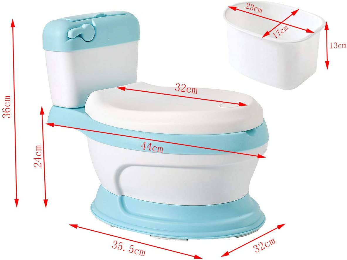 Glenmore Orinal en Forma de Water Mini WC Inodoro para Bebe Ninos Nina Retrete Infantil con Tapa Aprendizaje Azul