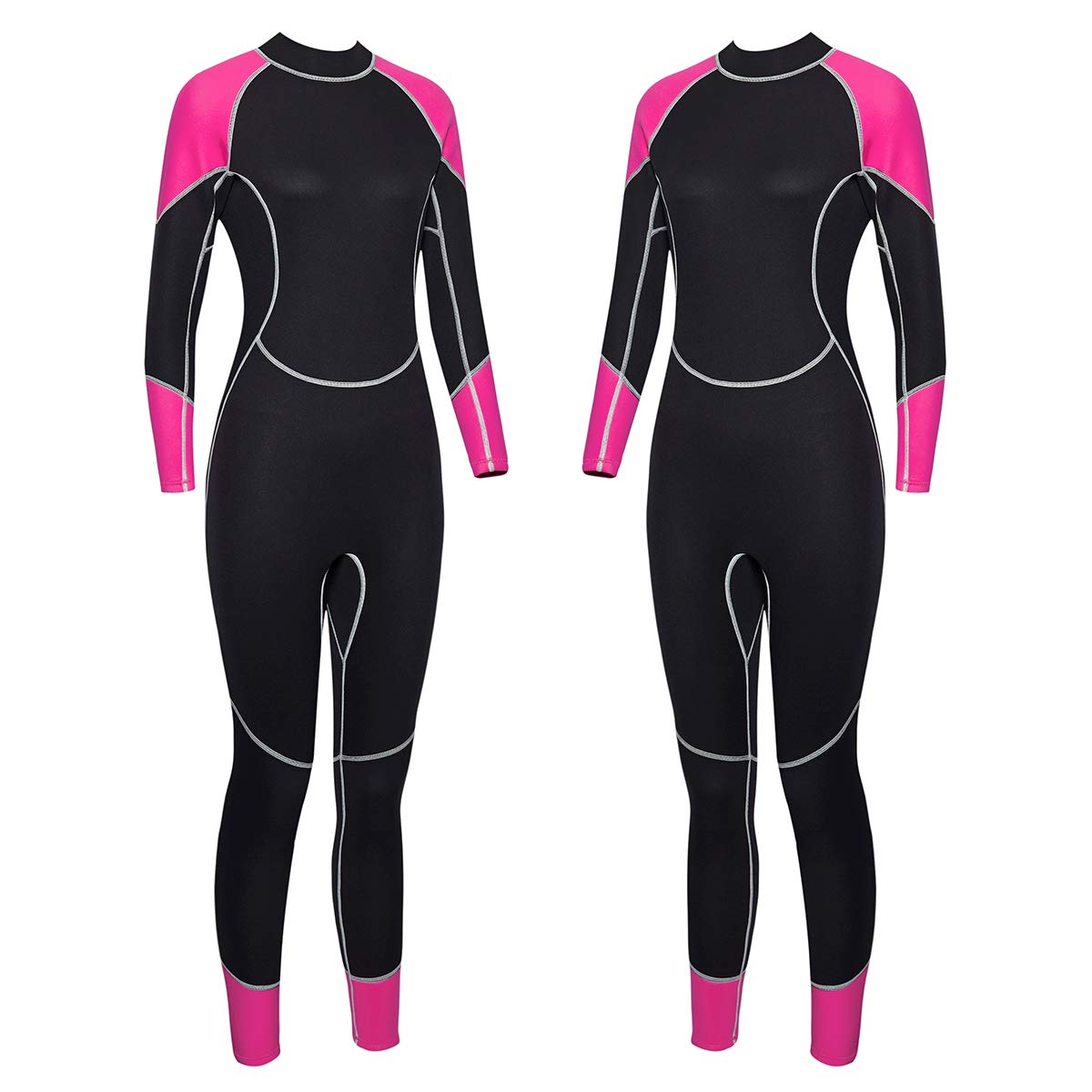 Niiwi Women Full Body Wetsuit - 2.5mm Premium Neoprene Scuba Diving Suit for Water Activities (Pink/Black, XL) by Niiwi