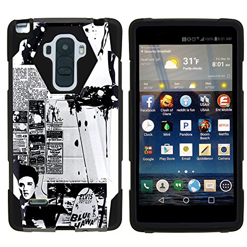 MINITURTLE Case Compatible w/ LG Stylo Phone Case, Armor Cover SHOCK Impact Stand Case w/ Customized Designs for LG G Stylo LS770, H631, MS631, LG G4 Stylus Rock Like Elvis