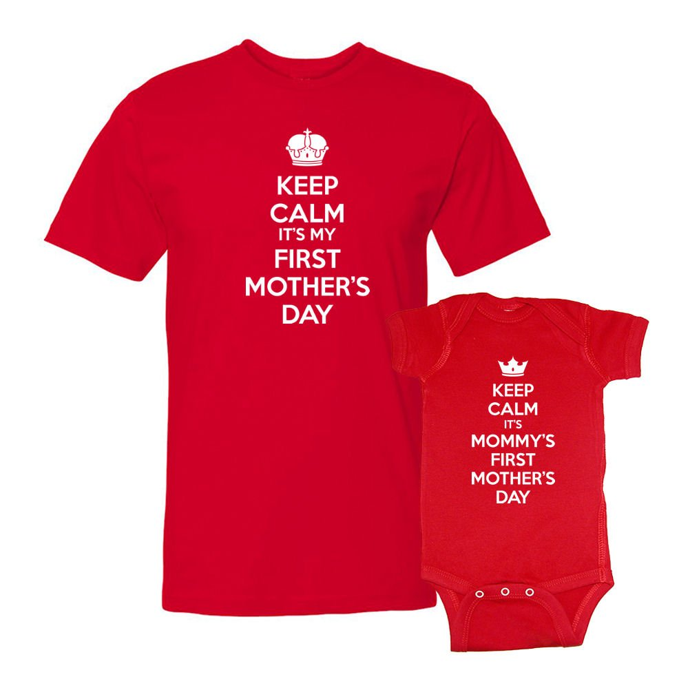 We Match Keep Calm Mommys First Mothers Day T-Shirt /& Bodysuit Matching Set