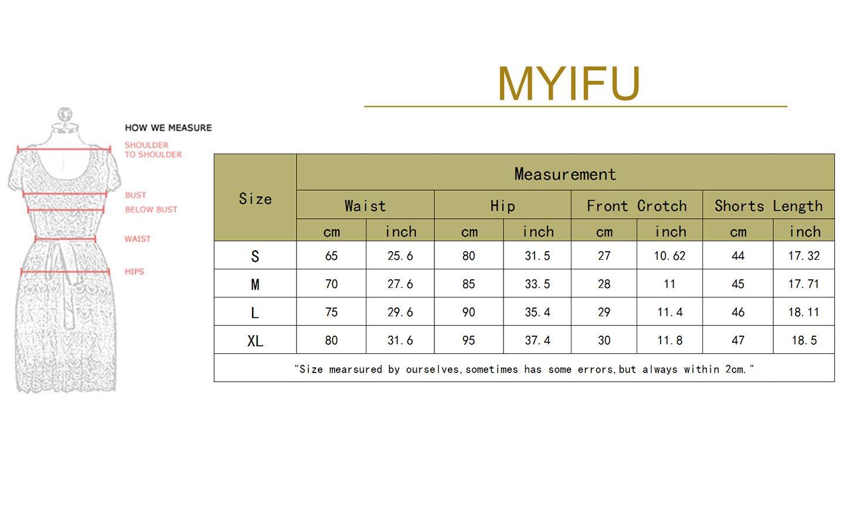 MYIFU Women's Solid Stretch High Waist Board Shorts Training Bike Sport Swim Short (X-Large, Dark Blue-2) by MYIFU (Image #7)