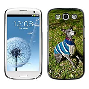 GoGoMobile Slim Protector Hard Shell Cover Case // M00119368 Whippet Dog Jacket Blue Jumper Vest // Samsung Galaxy S3 S III SIII i9300
