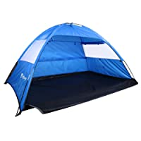 isYoung Beach Tent Sun Shelter Easy to Set UP Allow 2 or 3 Person Come with Mesh Windows and Interior Curtain (Blue)