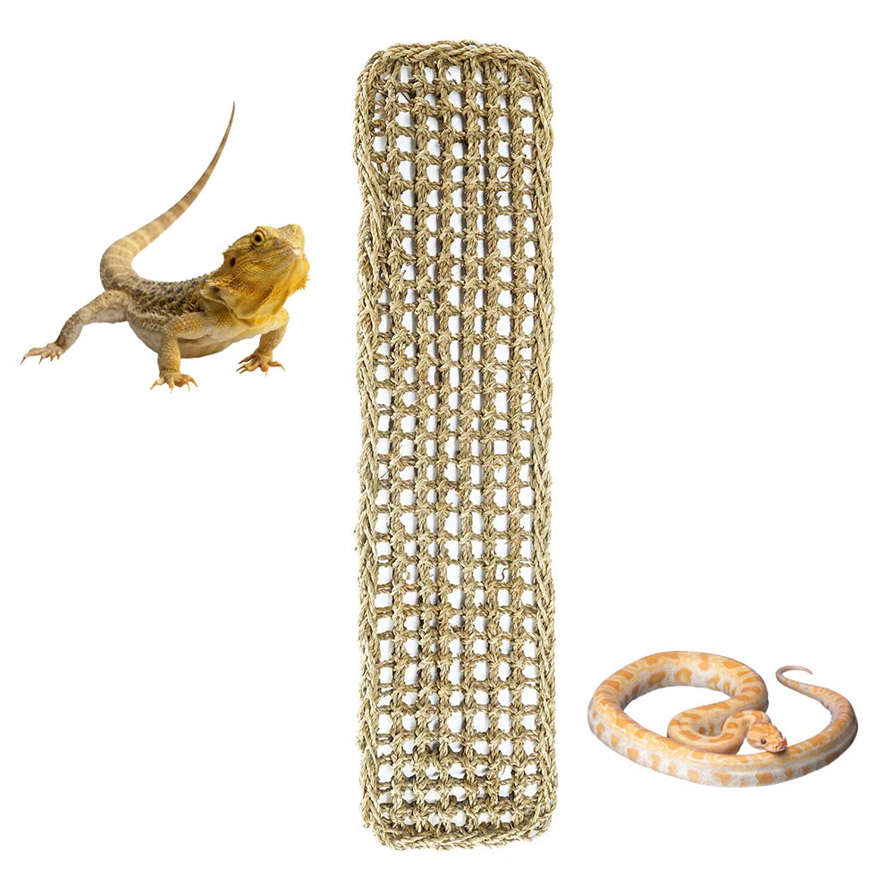 PET OPT Large Reptile Lounger Hammock 100% Natural Seagrass Fibers for Lizard, Anoles, Bearded Dragons, Geckos, Iguanas, and Hermit Crabs Rectangle 30in