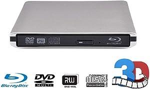 External CD DVD Blu-ray Drive USB 3.0 Portable CD Burner/Player/Writer/Super Drive CD/DVD-ROM CD/DVD-RW Compatible with Windows 10/8/7/XP/Vista MAC OS System for Laptop/Desktops PC