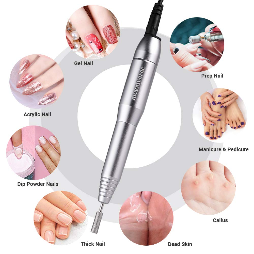 MelodySusie Portable Electric Nail Drill, Compact Efile Electrical Professional Nail File Kit for Acrylic, Gel Nails, Manicure Pedicure Polishing Shape Tools Design for Home Salon Use, Silver: Beauty
