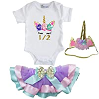 Kirei Sui Girls Lavender Pastel Satin Trimmed Tutu & Birthday Unicorn Tee