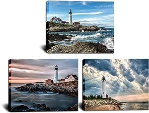 HOMEOART Lighthouse Painting Canvas Prints Ocean Landscape Coastal Beach View Modern Artwork Home Office Bedroom Bathroom Decor 12