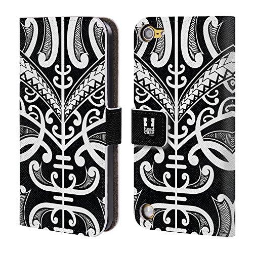Head Case Designs Face Tattoo Tatuaggi Samoani Cover a portafoglio in pelle per iPod Touch 5th Gen / 6th Gen