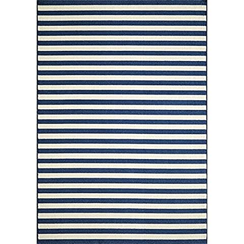 Momeni Rugs BAJA0BAJ-1NVY6796, Baja Collection Contemporary Indoor & Outdoor Area Rug, Easy to Clean, UV protected & Fade Resistant, 6'7