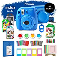 NeeGo Instax Mini 9 Instant Camera Bundle–Deluxe Kit with Camera, Matching Case & 4 Fun Film Packs–Rainbow, Stained Glass, Monochrome & White 50 Exposures for Instant Creative Photos