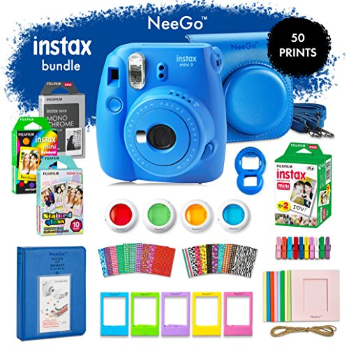 NeeGo Instax Mini 9 Instant Camera Bundle–Deluxe Kit With Camera, Matching Case & 4 Fun Film Packs–Rainbow, Stained Glass, Monochrome & White 50 Exposures For Instant Creative Photos-Cobalt Blue