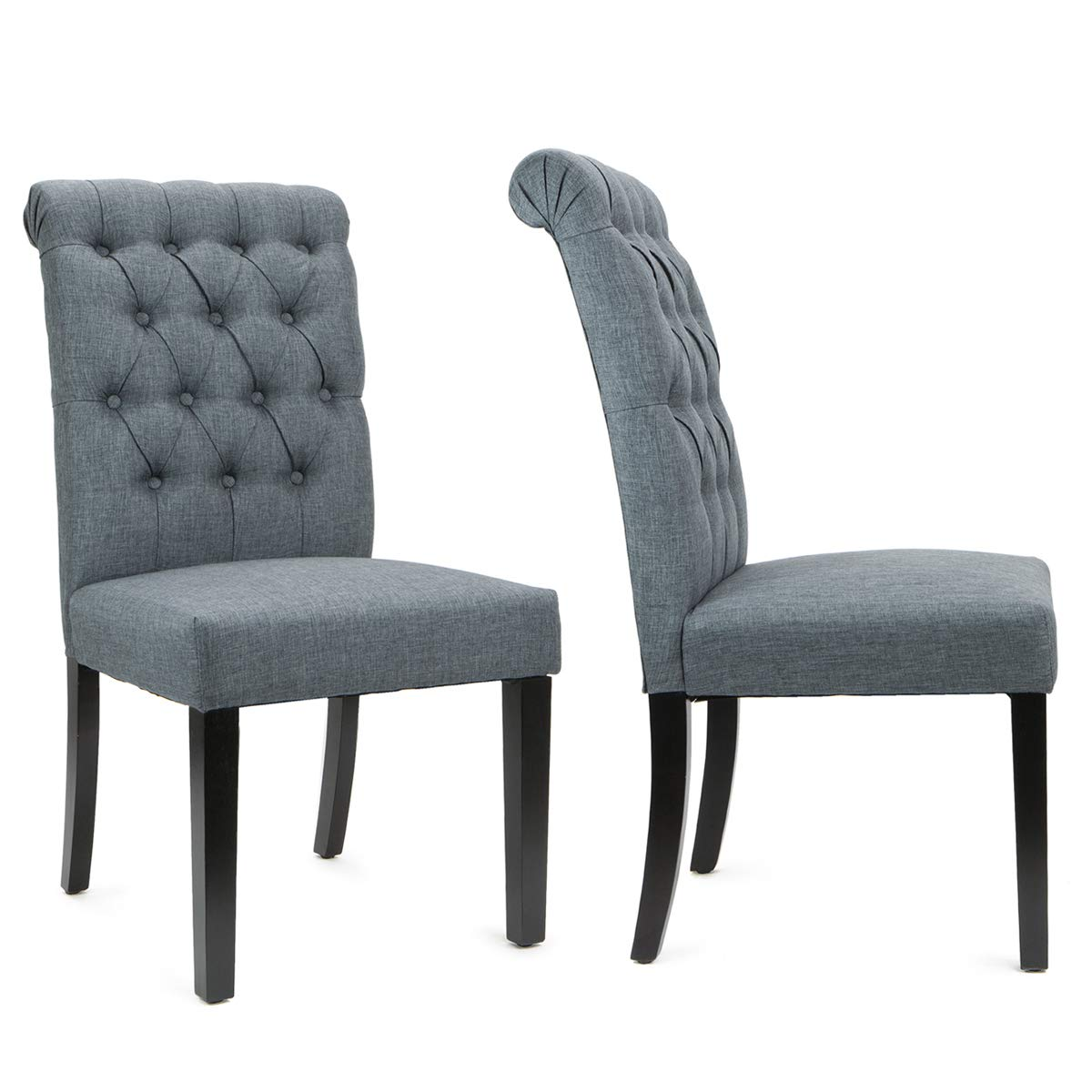 XtremepowerUS Set of (2) Dining Room Side Chair Tufted Padded Seat High Backrest Chairs Armless Wooden Legs (Gray)