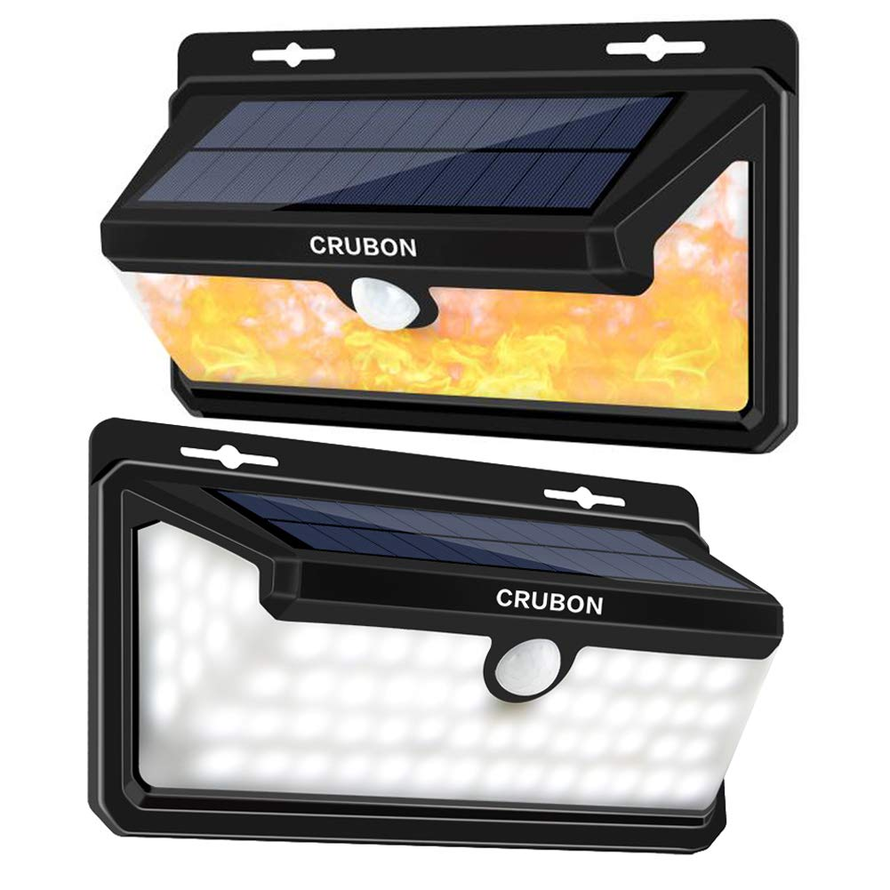 CRUBON Solar Lights Outdoor Motion Sensor 3 Optional Modes 158 LED Wireless Waterproof Security Wall Light with 270° Wide Angle, Easy to Install Lamps for Front Door, Yard, Garage, Deck (2 Pack) by CRUBON