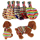 #2: Kim88 New Dog Puppy Pet Pants Colorful stripes strap Knickers Nappy Heat Menstruation Diaper Sanitary Pant (S)