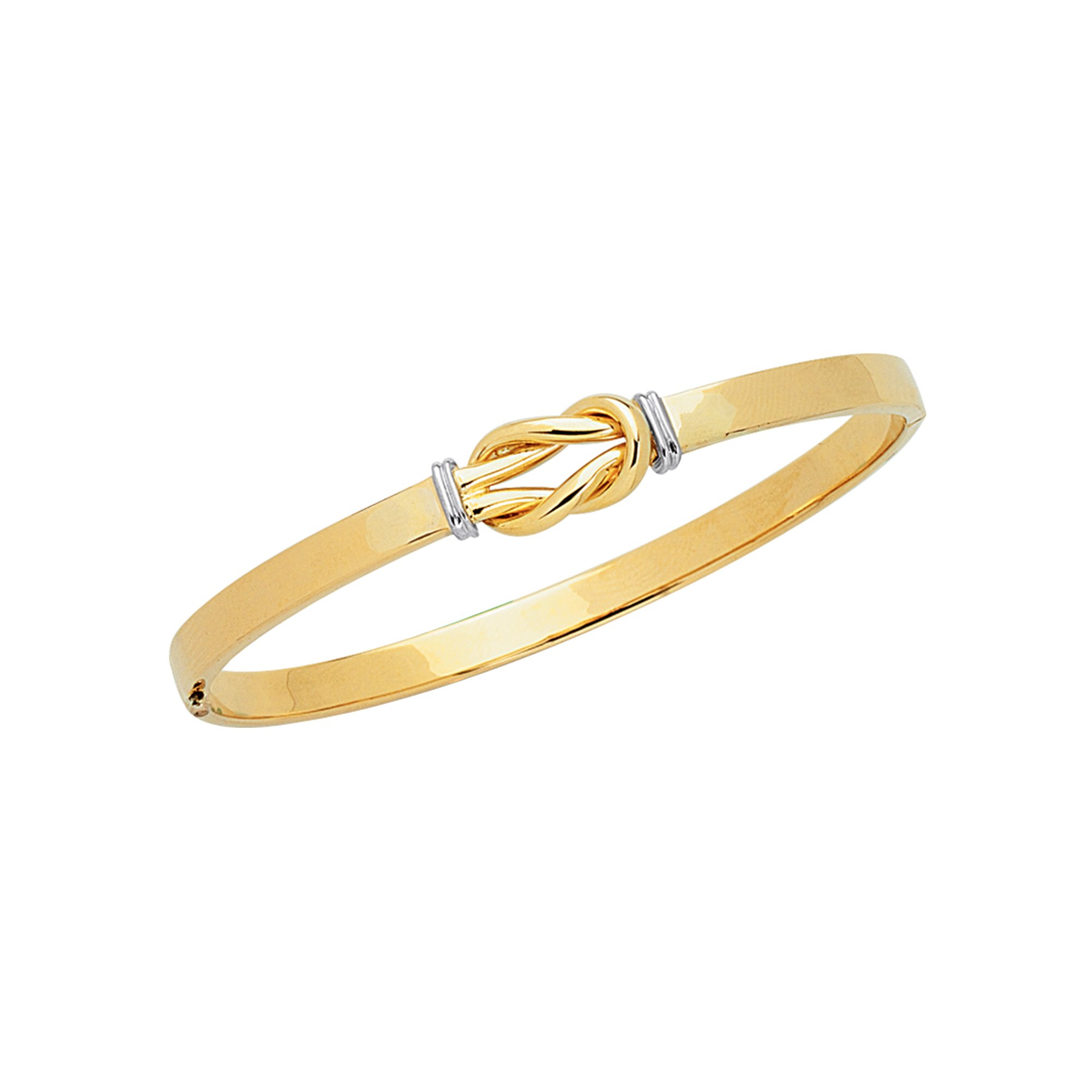 14K Two-Tone Yellow & White Gold Shiny Loop Top Fancy Love Knot 4.75mm wide Bangle 7'' Bracelet with Clasp