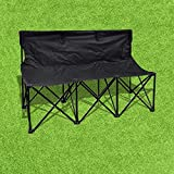 BenefitUSA 3 Seater Sideline Bench Portable Folding Team Sports Bench Sits Outdoor Waterproof- BLACK