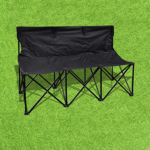 BenefitUSA 3 Seater Sideline Bench Portable Folding Team Sports Bench Sits Outdoor Waterproof- BLACK by BenefitUSA