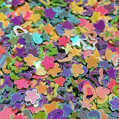 JPACO Chunky Glitter Confetti (100g, 1 Cup) with Heart, Star, Flower Shapes