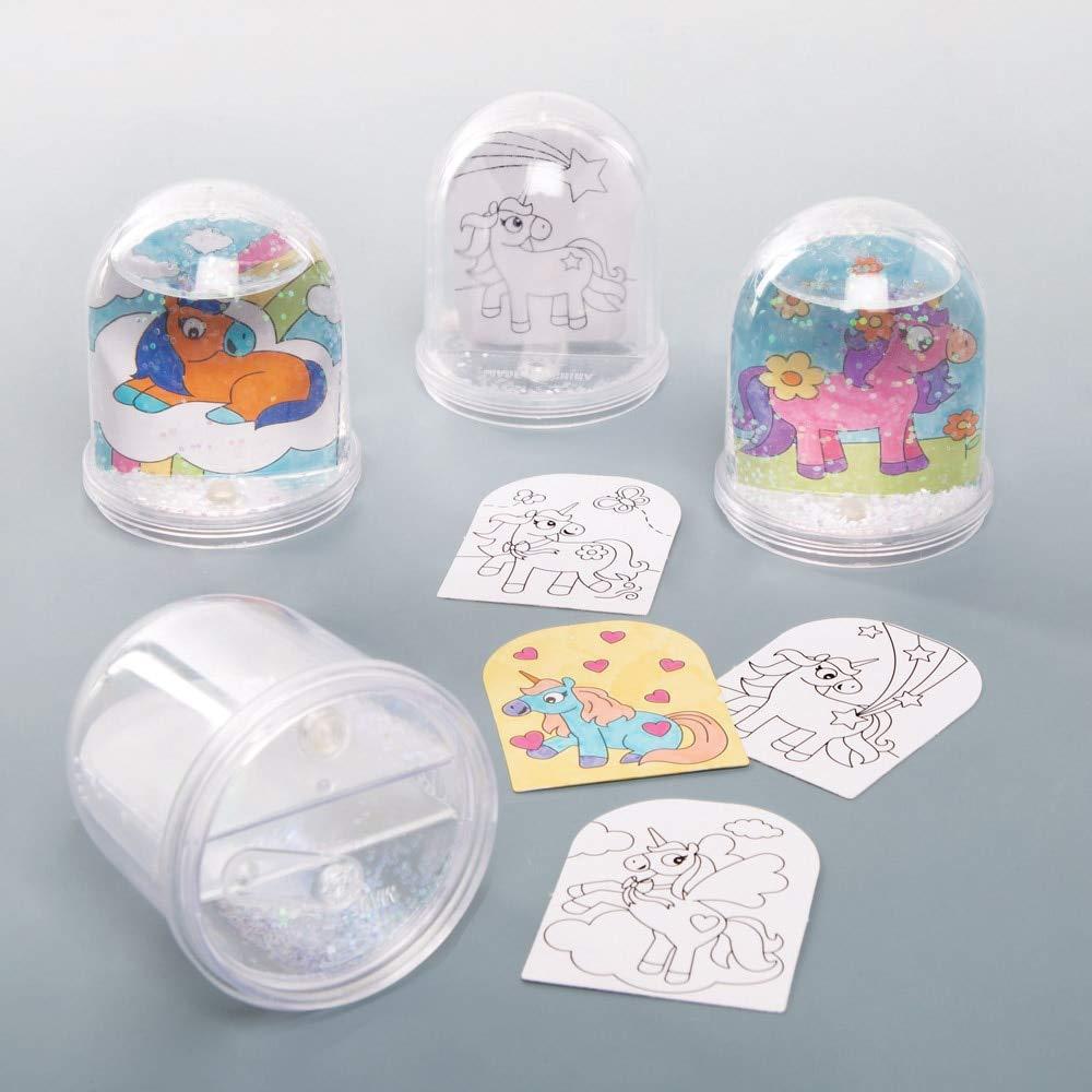Baker Ross Kits Bolas de nieve Unicornio para colorear (Paquete de 4) - Artes y manualidades para niños