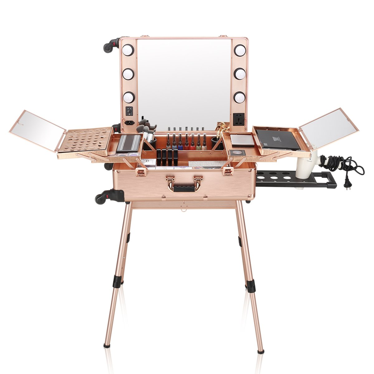 Ovonni LED Makeup Train Case, Lighted Rolling Portable Workstation, Rose Gold