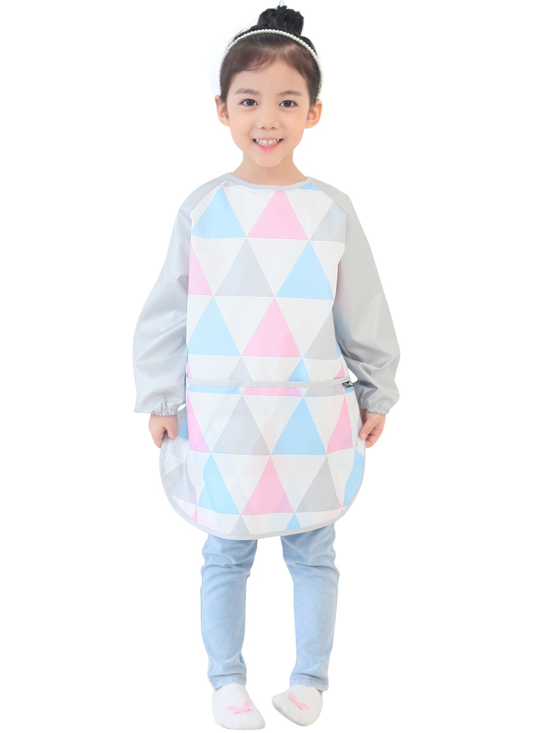 Plie Kids Art Smocks, Children Waterproof Artist Painting Aprons Long Sleeve with Pockets, Pink Triangle (20-L)