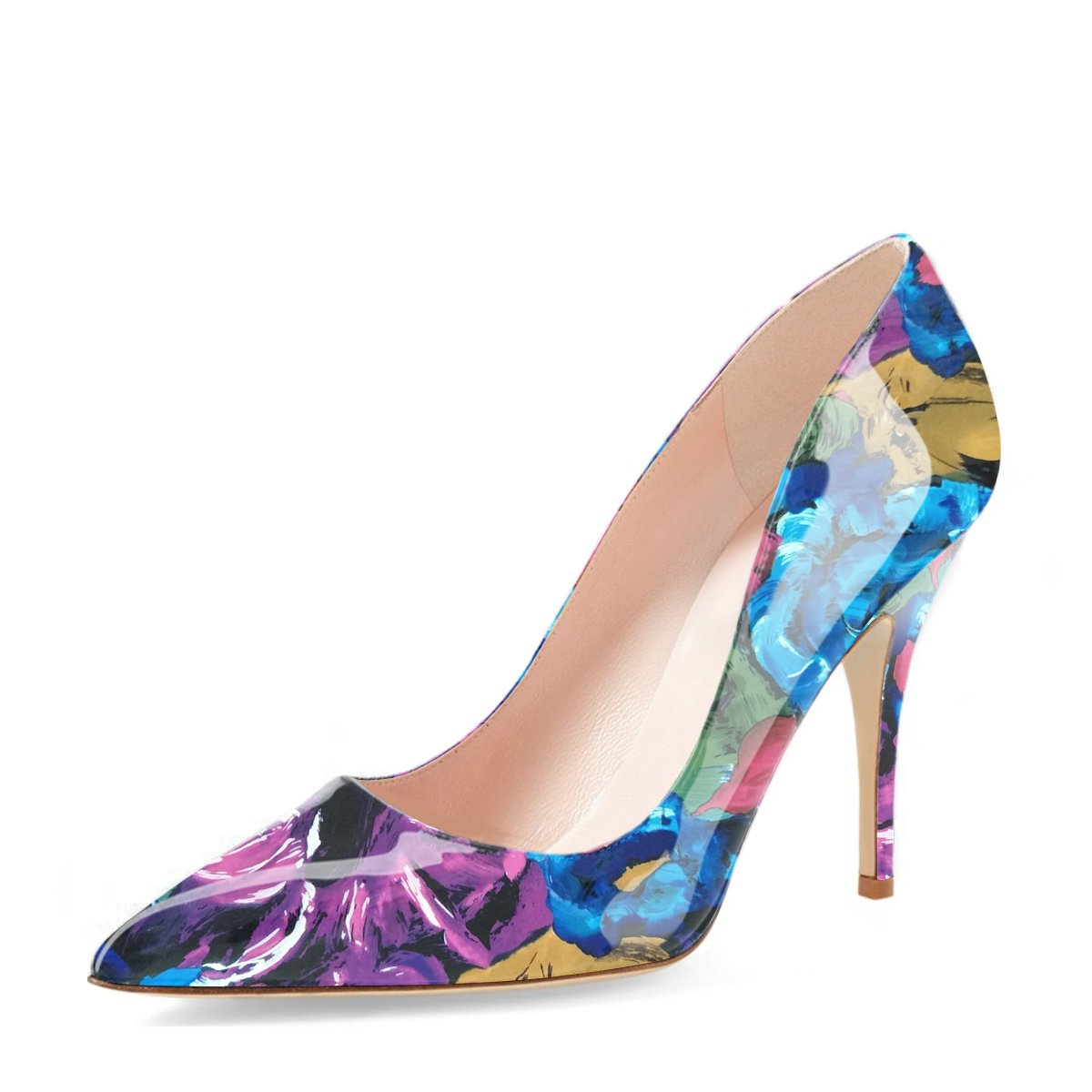 YDN Women's Chic Pointed Toe Mid Heel Pumps Polka Dots Slip on Stilettos Shoes for Party Purple Floral 9