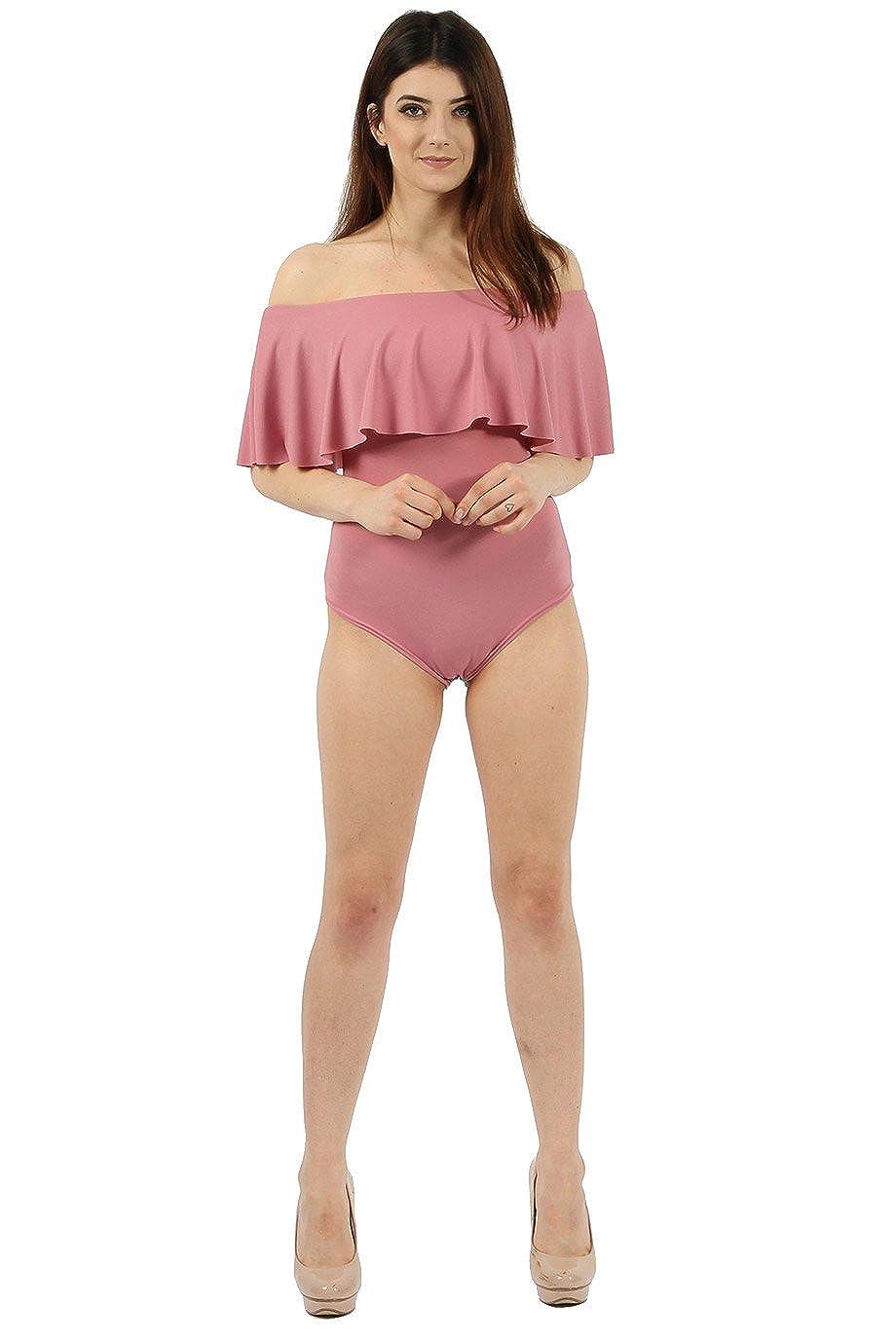 New Shoulder Off Ladies BodySuit Womens Sleeveless Top Bardot Frill Crepe Plain