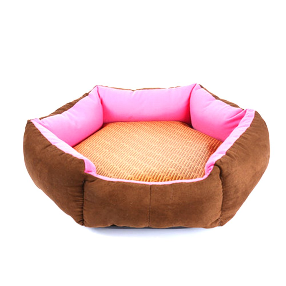 WuKong Hexagonal Pet Bed Cat Nest for Small Dog Pet Nest Cushions Removable Washable Dog House with Summer Mat (L: Outside diameter: 19.5''x19.5'', Pink)