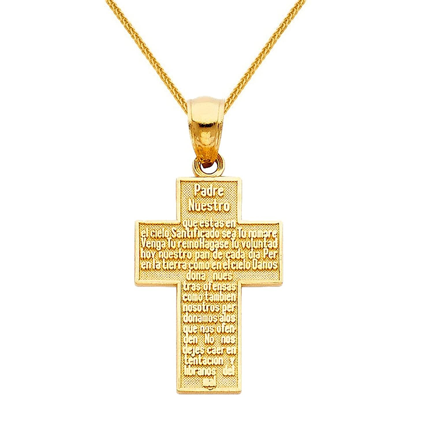 14k Yellow Gold 0.86-inch Padre Nuestro Cross Pendant with 0.8-mm Square Wheat Chain
