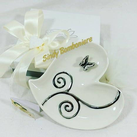 Bomboniere Matrimonio Con Farfalle.Svuotatasche Porcellana Cuore Con Farfalla Argentata Matrimonio