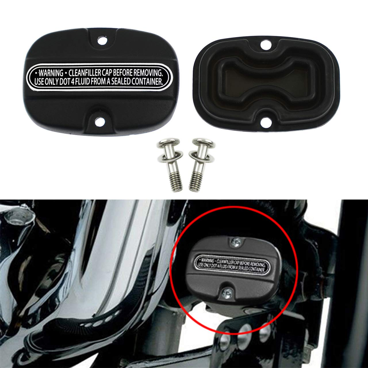 YHMTIVTU Rear Brake Master Cylinder Cover Compatible with Harley Touring Road King FLHR Street Electra Glide 2008-2019 Chrome