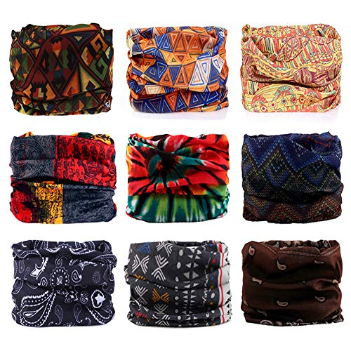 Godspeed Headwear, Headwrap 9-Pack Headband & Bandanna 16-in-1 Multifunctional Telescopic Seamless Scarf Facemask For Outdoor Leisure Activities (Bohemian Series)