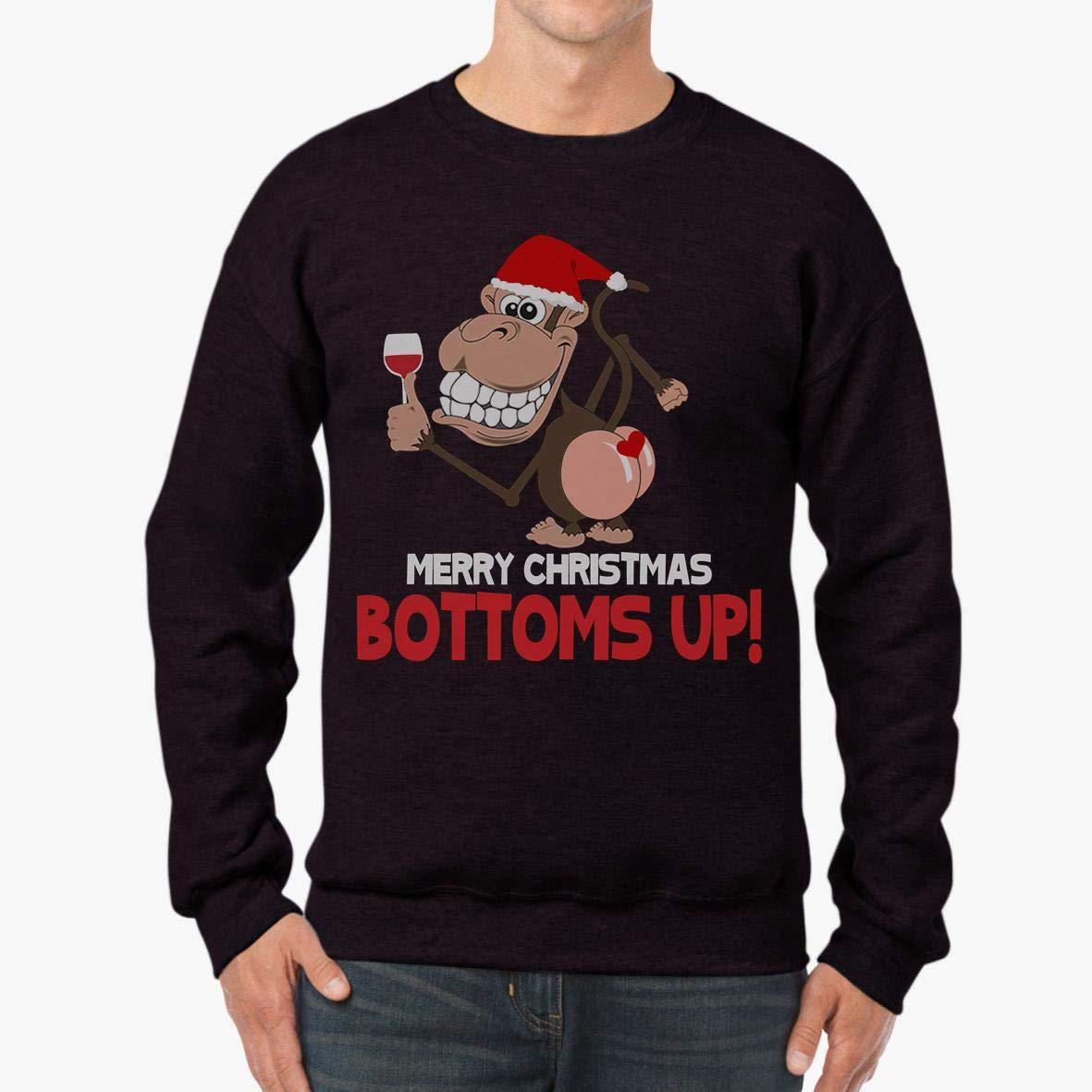 tee Doryti Monkey Wine Merry Christmas Bottoms up Unisex Sweatshirt