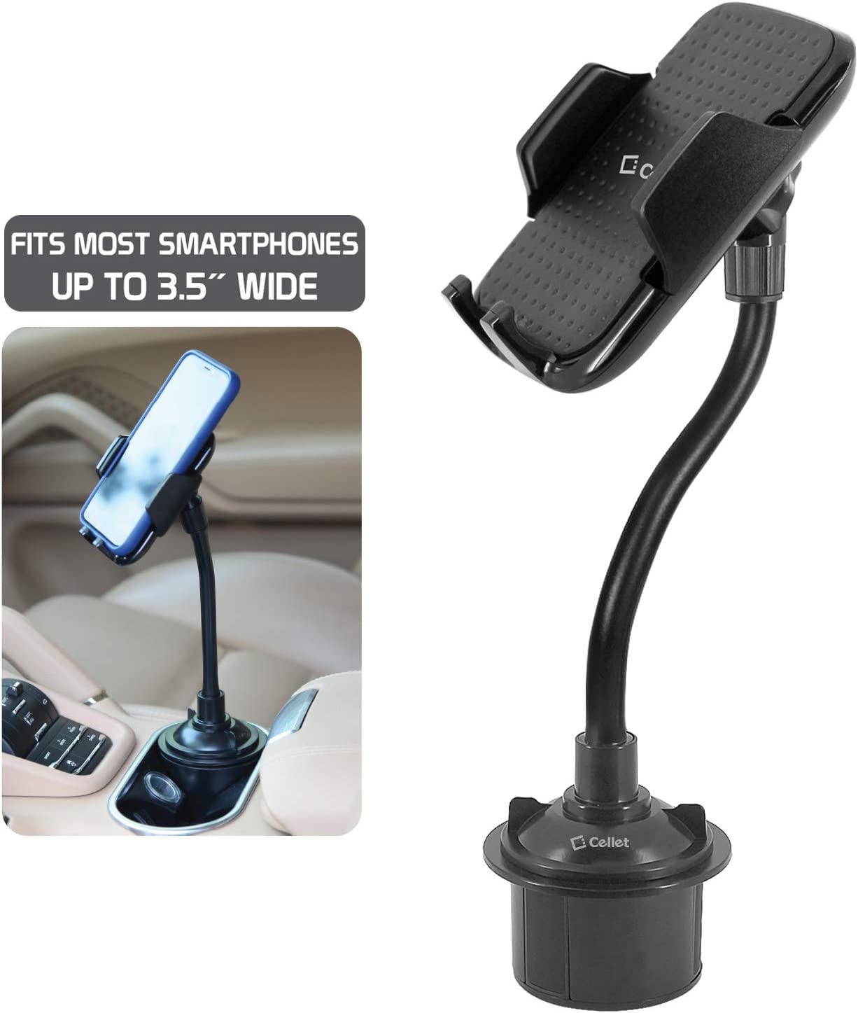 Cellet Heavy Duty Cup Holder Smartphone Mount Compatible to Apple iPhone 11 X Xs Xr Xs Max 8 8+ Samsung Note 10 9 8 Galaxy S10 S20 S20+ S10e S10Plus S9 Plus P30 Pro Google Pixel 4 3 XL OnePlus 6T