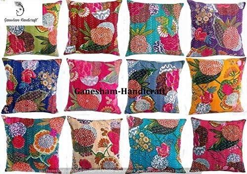 Floral Print Indian Cushion Cover Hippie Couch Decor Throw Pillows Boho Kantha