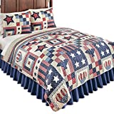 Collections Etc Patriotic Country Home Americana Bedding Quilt with Stars, Stripes, Hearts & Eagles, Blue Multi, King