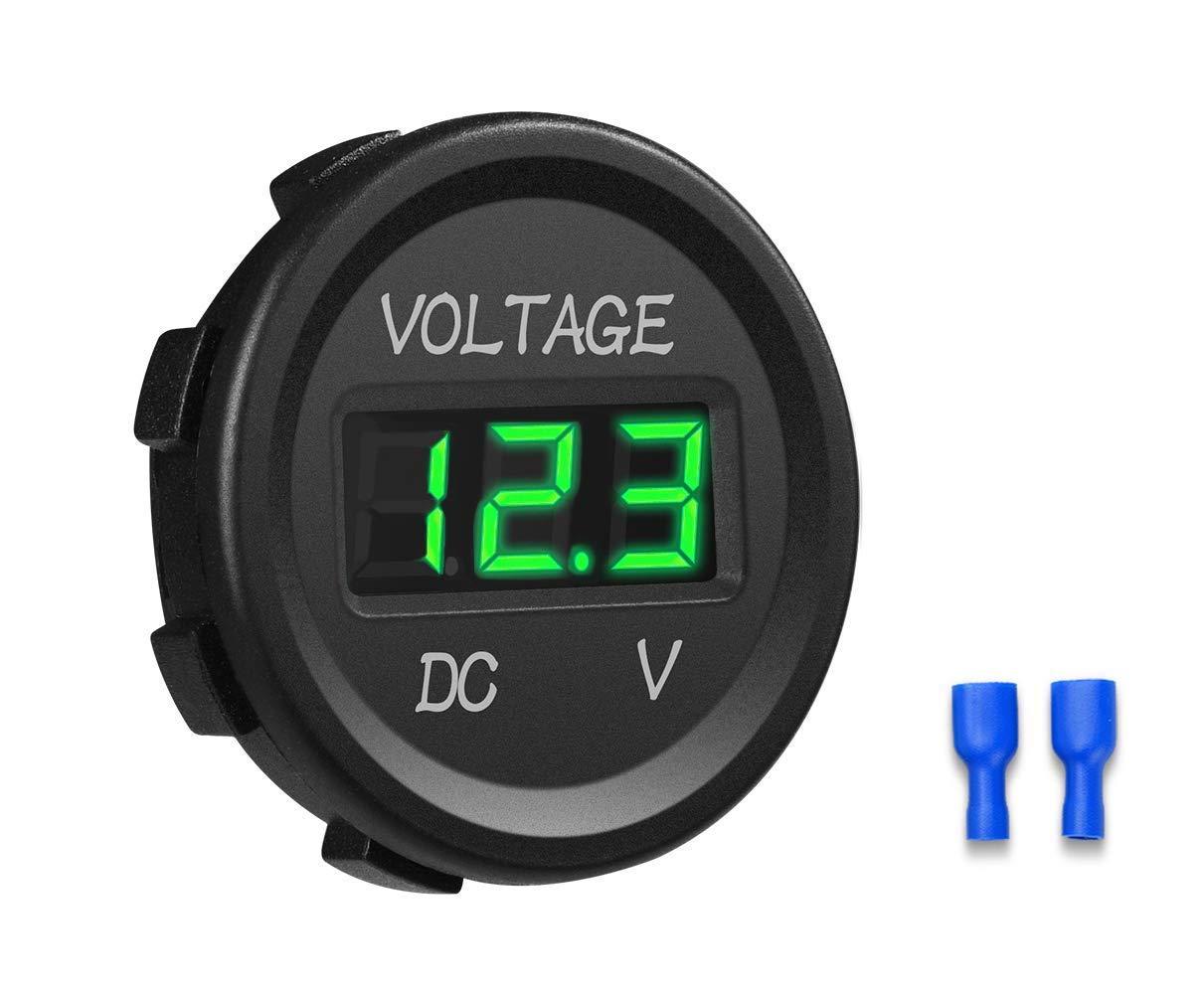 Vert YGL 12-24V DC Voltm/ètre Affichage Num/érique /à LED Imperm/éable pour Bateau Moto Camion Marine