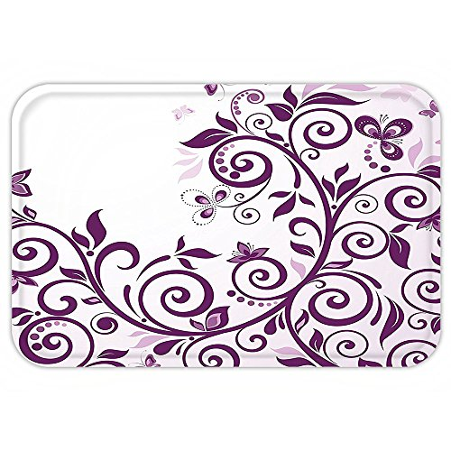 Curved Profile Collection (VROSELV Custom Door MatPurple Decor Collection Growing Curved Floral Vine Ivy Branchewith ButterflieBridal Decor Female Concept Violet White)