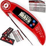 Double B Bar Kitchen Instant Read Meat Thermometer For Grill And Cooking. UPGRADED MODEL NOW WITH MAGNET AND CALIBRATION FEATURE. Best Ultra Fast Digital Kitchen Probe. Includes Internal BBQ Meat Temperature Guide